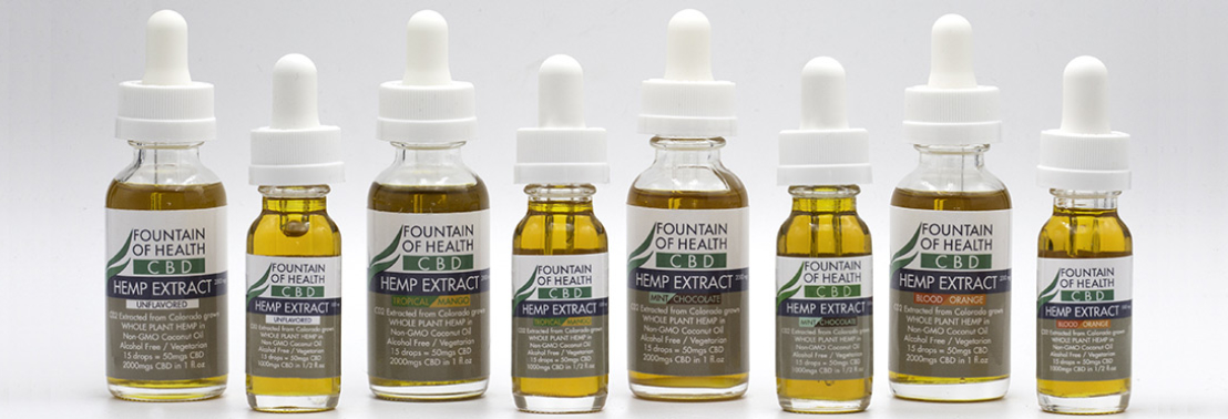 CBD oil, flavored and unflavored.